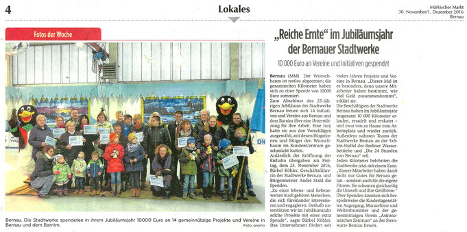 """Spendenübergabe der Stadtwerke Bernau an den RVI, dieser Artikel erschien am 30.11./01.12.2016 in """"Märkischer Markt"""""""