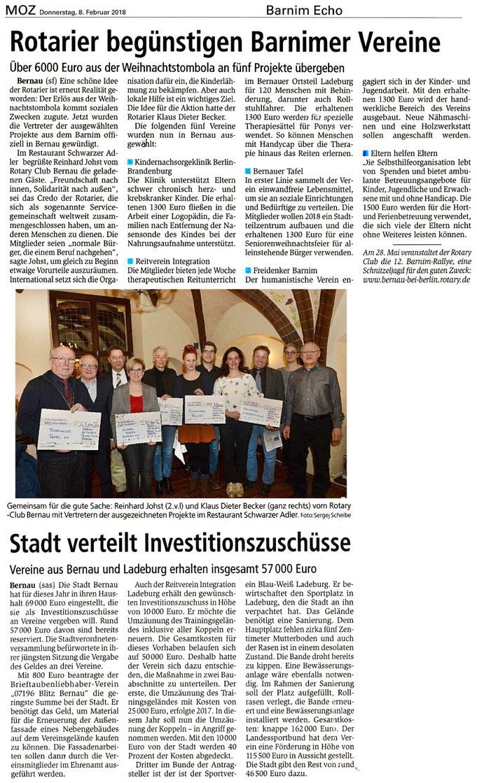 Der RVI erhält Investitionszuschüsse von den Rotariern und der Stadt Bernau, erschienen am 08.02.2018 in der MOZ