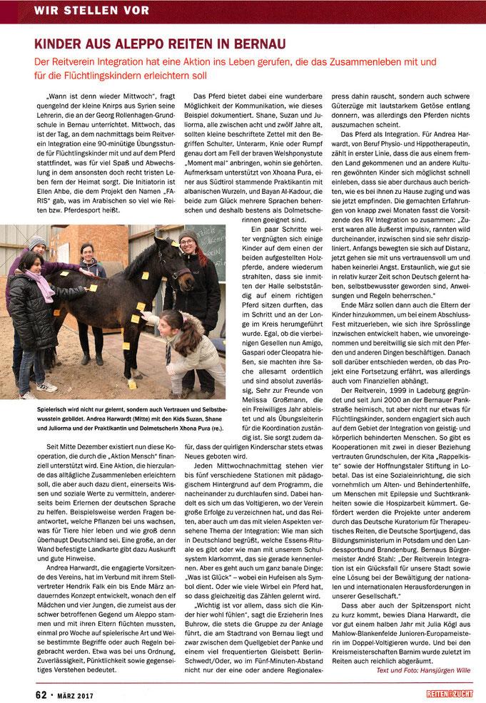 """Der RVI ruft Aktion """"FARIS"""" für Flüchtlingskinder ins Leben, dieser Artikel erschien in der März 2017 Ausgabe """"Reiten und Zucht"""""""