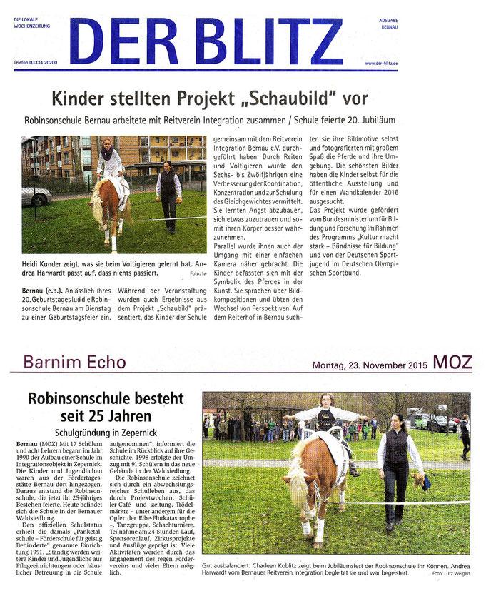 """Project """"Schaubild"""" des RVI mit der Robinsonschule, erschienen im November 2015 in """"Der Blitz"""" und der """"MOZ"""""""