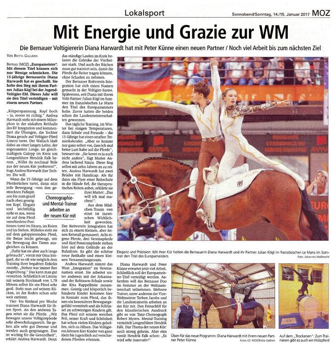 Das Voltigierduo des RVI  will den EM-Titel verteidigen, erschienen am 14./15.01.2017 in der MOZ