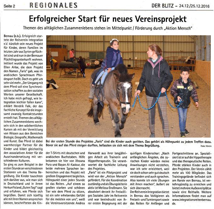 """Der RVI startet das Projekt """"FARIS"""" für syrische Flüchtlinge, dieser Artikel erschien in der Januar 2017 Ausgabe """"Reiten und Zucht"""" und am  24./25.12.2016 in """"Der Blitz"""""""