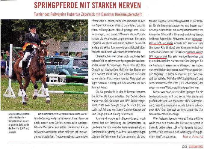 """Der RVI unter den Besten beim Turnier des Reitvereins Hubertus Zepernick, erschienen in der Ausgabe 10/2008 """"Reiten und Zucht"""""""
