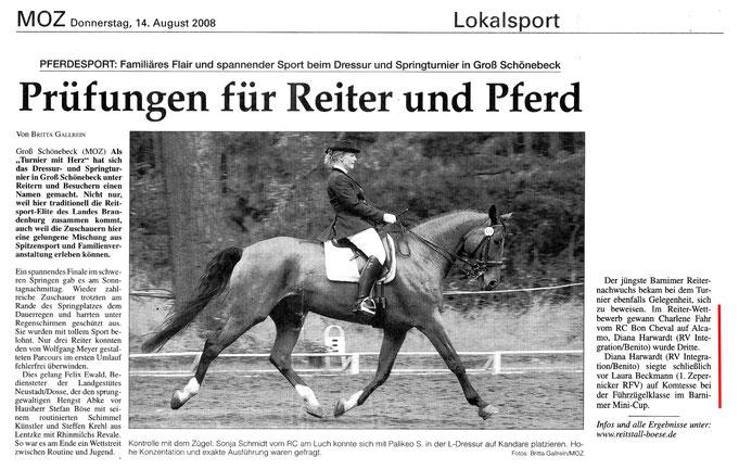 Erfolge der Kleinsten des RVI in Groß Schönbeck, dieser Artikel erschien in der MOZ am 14.08.2008