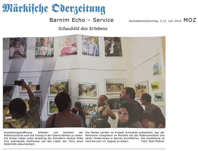 Ausstellung zum project Schaubil des RVI und der Robinsinschule in der Galerie Bernau, erschienen in der MOZ am 2./3. Juli 2016