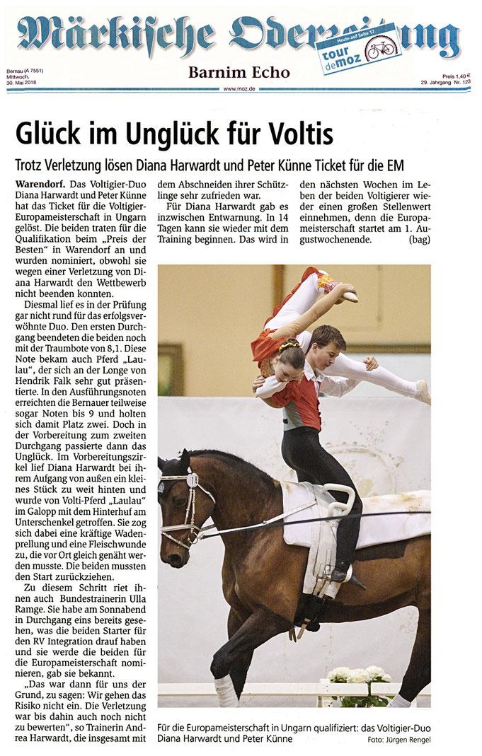 """Voltigierduo des RVI ist trotz Verletzung für die EM Teilnahme qualifiziert, dieser Artikel erschien am 30.05.2018 in der """"Märkische Oderzeitung"""""""