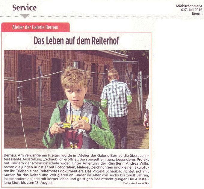 """Start des Projektes """"Schaubild"""" mit des RVI mit der Robinsinschule, erschienen am 06./07.07.2016 in """"Märkischer Markt"""""""