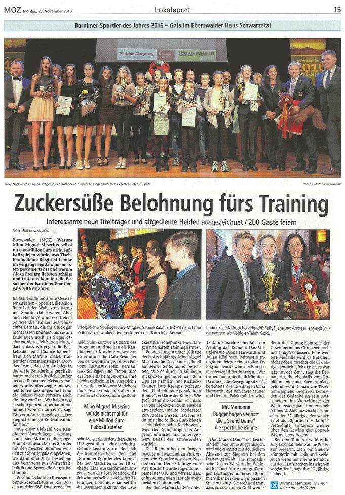"""Voltigierteam des RVI zum """"Barnimer Sportler des Jahres 2016"""" ausgezeichnet, erscheinen am 28.11.2016 in der MOZ"""