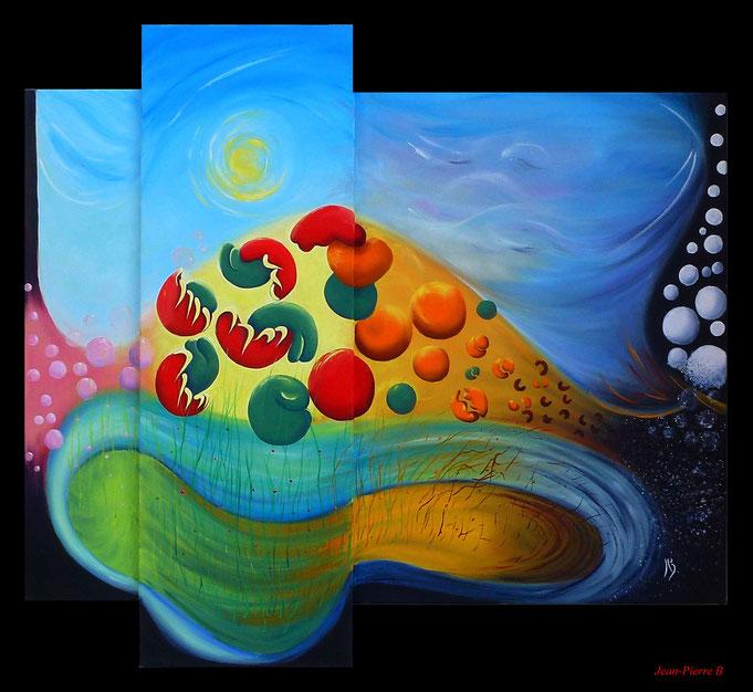 Saisons: peinture contemporaine de Jean-Pierre Beillard illustrant les saisons