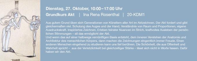 Dienstag, 27. Oktober, 10:00–17:00 Uhr    |   Grundkurs Akt    |   Ina Rena Rosenthal   |   20-KDM1