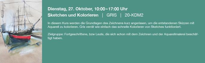 Dienstag, 27. Oktober, 10:00–17:00 Uhr    |   Sketchen und Kolorieren   |   GRIS   |   20-KDM2