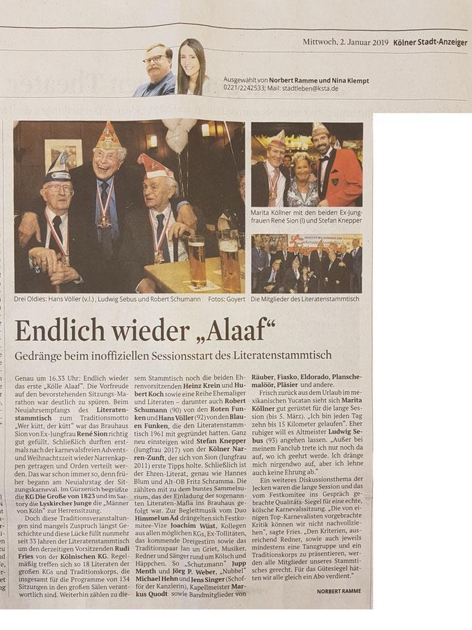 Kölner Stadtanzeiger vom 2.1.2019