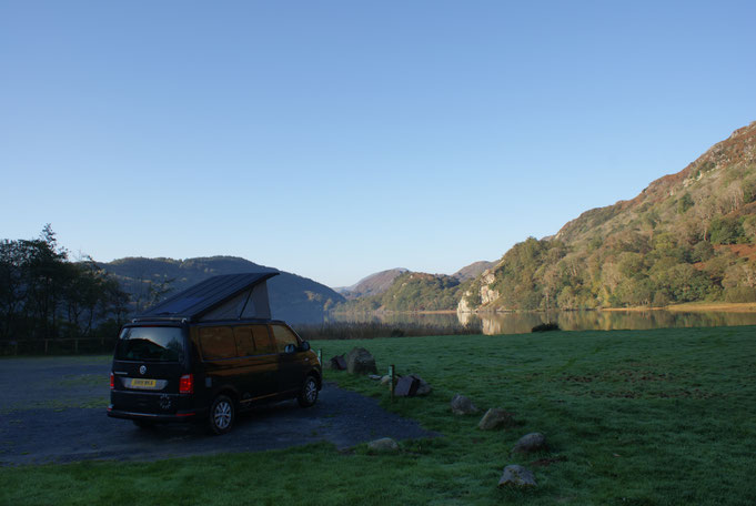 Nene Valley Campers hire van on a bright morning