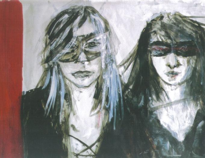 Autoportrait avec Anne (extrait) / 2002 / Acrylique, markers et craies sur papier / 50x50 cm / Peinture perdue