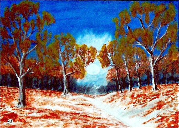 Winterlandschaft-Acrylmalerei-Bäume-Wald-Gras-Pflanzen-Büsche-Schnee-Weg-Himmel-Wolken-zeitgenössische Malerei-Acrylbild-Acrylgemälde-Landschaftsmalerei