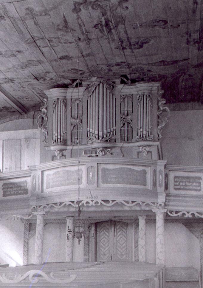 Altwriezen, Dorfkirche - Ernst Julius Marx, 1766, enthielt Teile der Wagner-Orgel von 1735 (nicht erhalten)