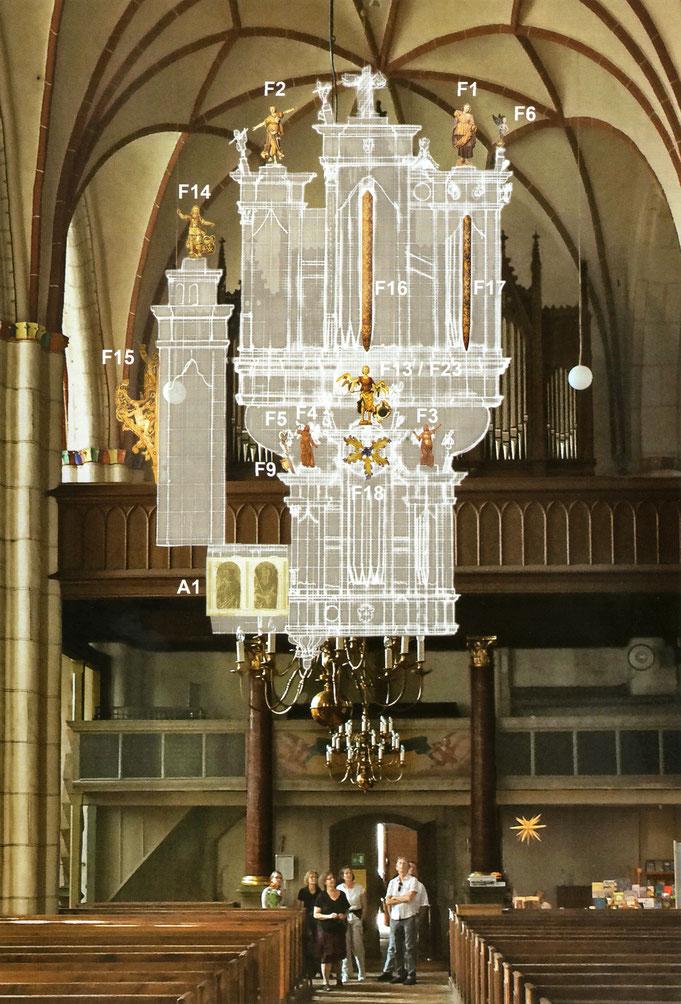Visualisierung der ehem. Scherer-Orgel in Bernau nach der Rekonstruktion von Dirk Zacharias, Dresden (© Kirchengemeinde St. Marien, Bernau)