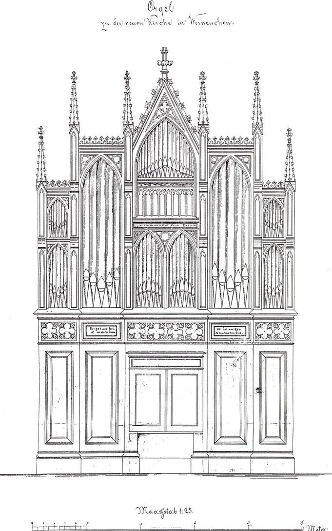 Prospektentwurf von Wilhelm Remler (Berlin) für die 1875 erbaute Orgel der Stadtkirche zu Werneuchen.