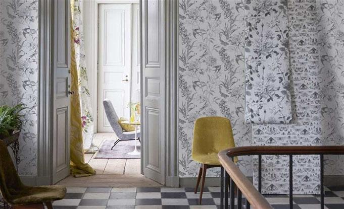 Un intérieur chic par Designers Guild, Collection papiers peints assortis aux décors textiles, rideaux et revêtements de sièges