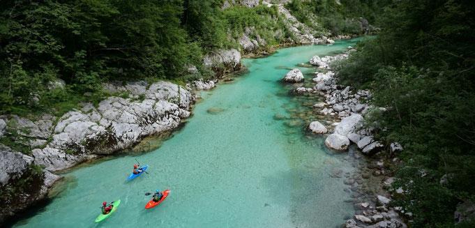kayak on Soca river - Kayak sul fiume Isonzo - Kajak auf dem Fluss Soca