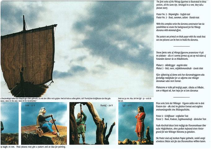 Poster mit  Schiffsmodell und Wikinger Handwerkern, modelliert von Manfred Porath und bemalt von Ursula Porath