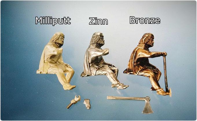 Eirik der Wikinger mit Axt in Milliputt, Zinn und Bronze gegossen