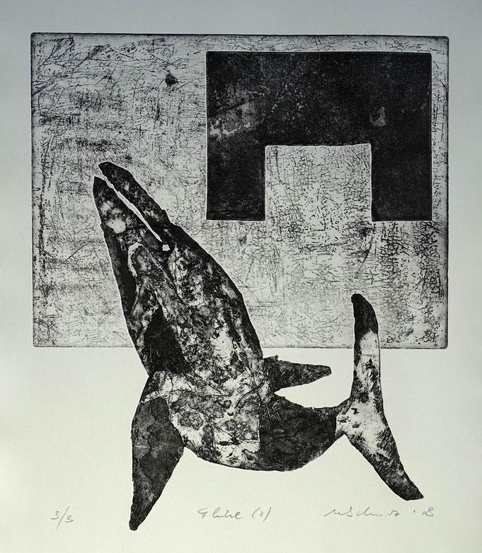 """Fluke 2"", Radierung, (Ätzung, Aquatinta, Kaltnadel) ca 40 x 35 cm"