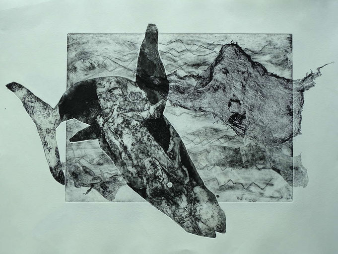 Radierung, (Ätzung, Aquatinta, Materialdruck) ca 40 x 35 cm