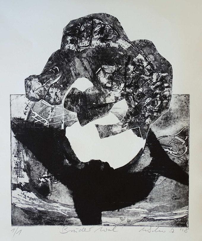 """Bruder Wal"", Radierung, (Ätzung, Aquatinta, Kaltnadel) ca 40 x 35 cm"