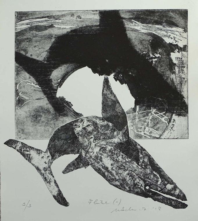 """Fluke 1"", Radierung, (Ätzung, Aquatinta, Kaltnadel) ca 40 x 35 cm"