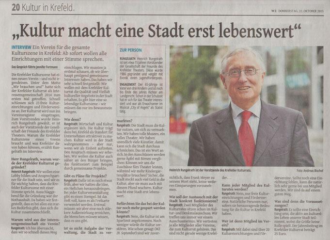 Westdeutsche Zeitung | 22. Oktober 2015