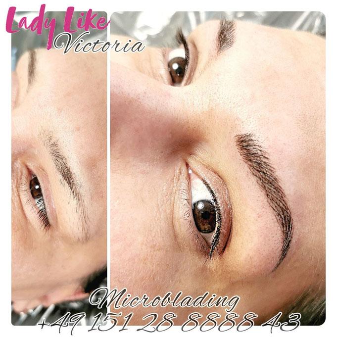 Microblading der Augenbrauen, eine Typveränderung