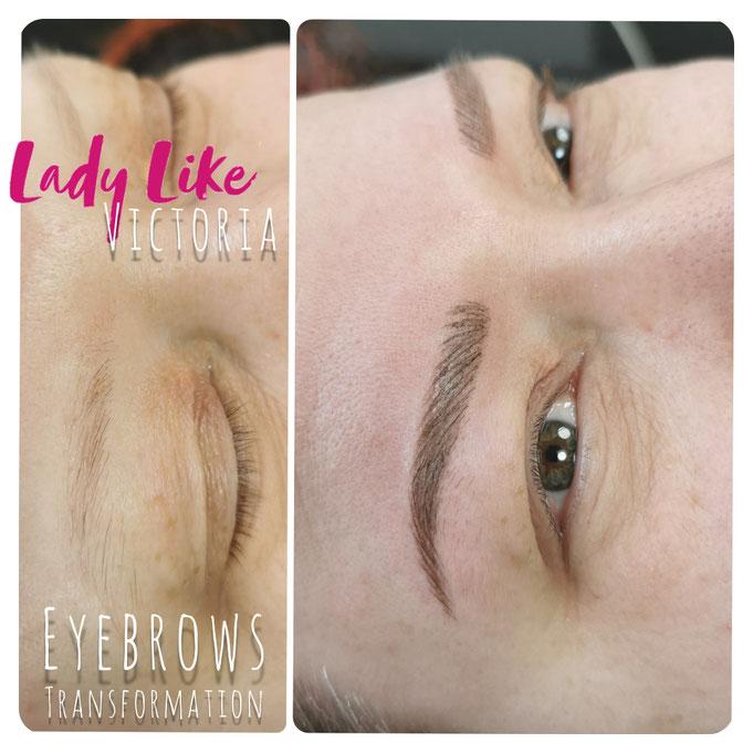 Die Form der Augenbrauen PMU(authentic Phons by LadyLikeVictoria, echte Kunden, echte Kunden von LadyLikeVictoria, echte PMU Ergebnisse)