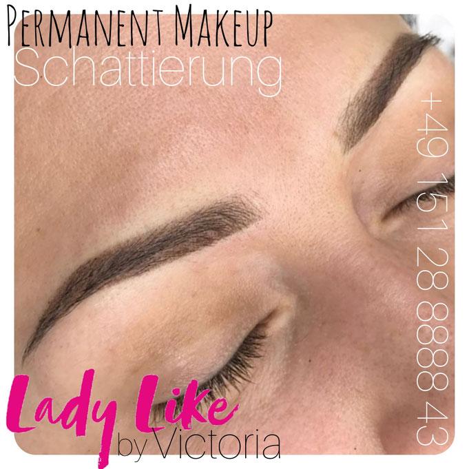 Schattierung der Augenbrauen ,Authentisches Foto, Kundin von LadyLikeVictoria, Permanent Make-up der Augenbrauen, bitte klicke um mehr zu erfahren