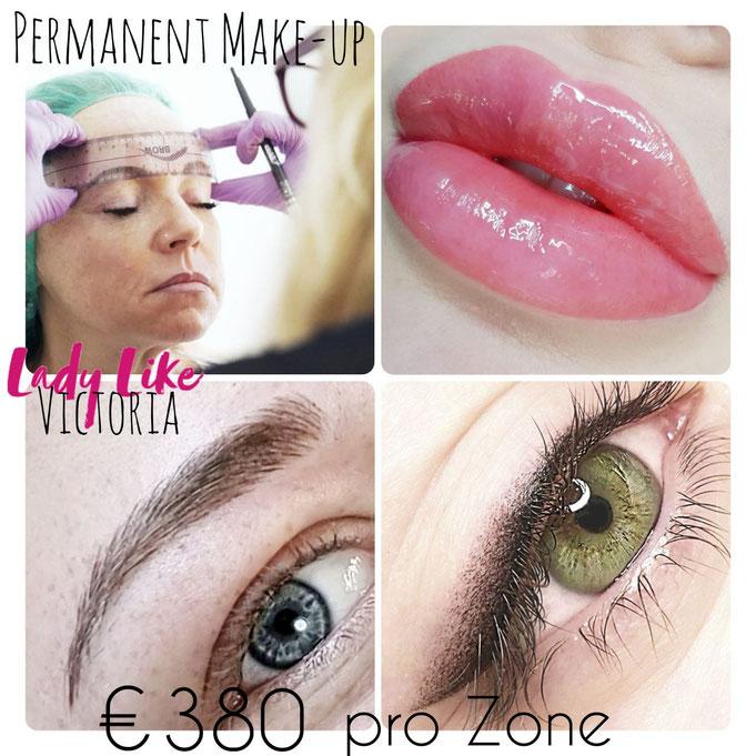 Günstige Preise, Eine Zone - Augenbrauen, Lidstrich oder Lippen -  kostet 380,- EUR