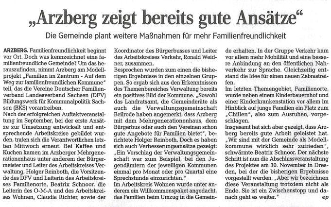 Artikel über unsere Modellkommune Arzberg vom 23.11.2017, Quelle: Torgauer Zeitung