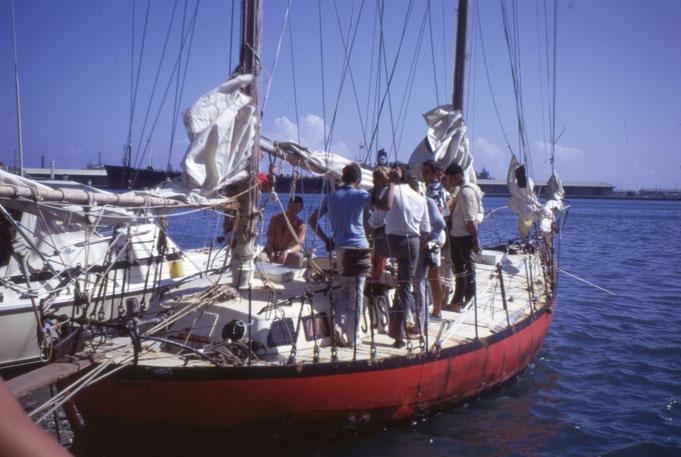 Joshua le 21 juin 1969, 2 heures après son arrivée à Papeete