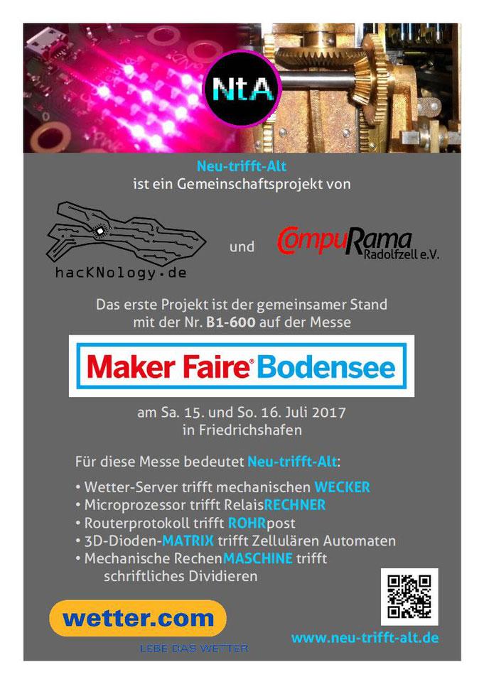 Kopfbild: links neu (CodeBug) rechts alt (Millonär); Logos: links hacKNology, rechts CompuRama; Mitte: Maker-Faire-Logo; Themen der 5 Tische; Unten Sponsor-Logo. QR-Code.