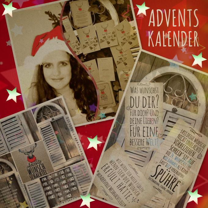 24 Wunschzettel-Adventskalender zum beschriften, 24 Weihnachtsujets, lass die Augen leuchten, wie damals als Kind, wünsche für dich oder verschenke Wünsche aus dieser kleinen Box A6 aus ökologischem Papier und Inhaltskarten A6 , individuell und persönlich