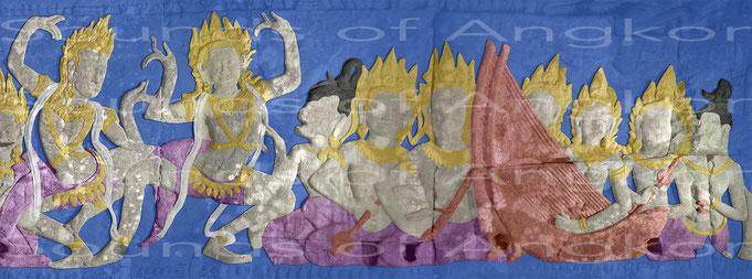 Orchestre de la cour. Les musiciennes portent des couronnes mais chanteuses seulement un chignon. Bayon. Fin XIIe - Début XIIIe s.