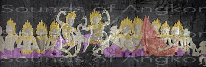 Cet orchestre, composé de 2 harpes, 2 cithares, 1 racle et 1 paire de petites cymbales, anime la danse à la cour du roi Jayavaman VII. Bayon.