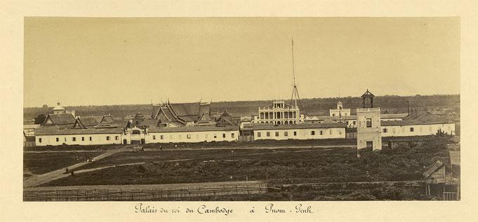Palais royal de Phnom Penh vers 1866-70, par Émile Gsell