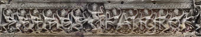 Frize of dancers. Preah Khan.