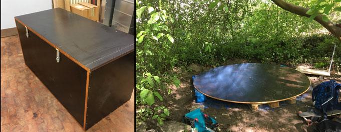 Ich habe eine Truhe und ein Podest für den Schulgarten gebaut. Das Podest wird noch ein wichtiger Teil für ein Lehmprojekt