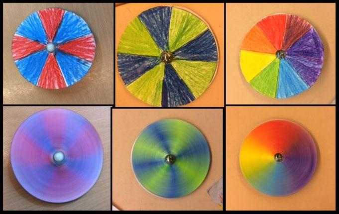 Farbkreis-Kreisel auf CD und Murmel