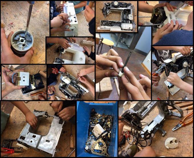 Wir haben eine Nähmaschine auseinander gebaut.