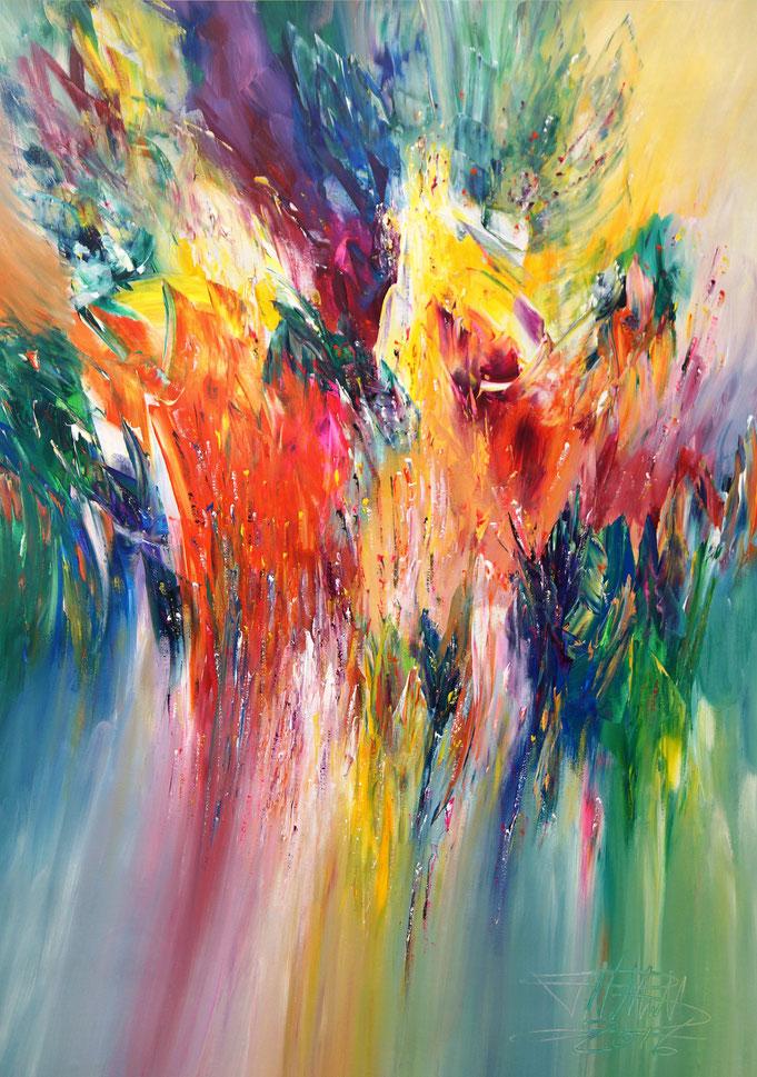 Abstraktes Acrylbild von Peter Nottrott - moderne Kunst