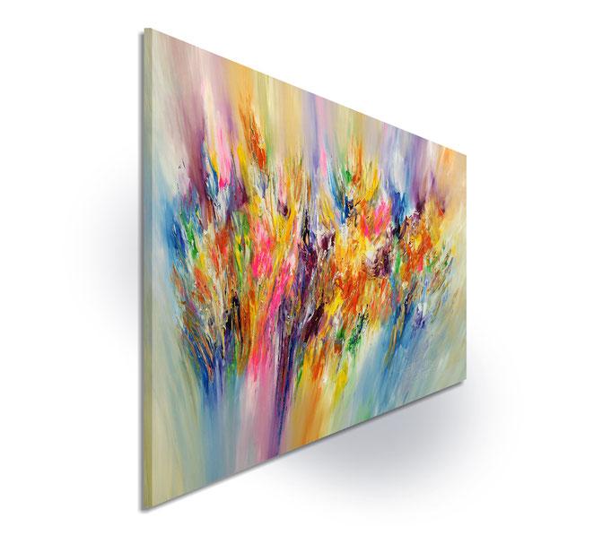 Seitenansicht:die Seiten sind mitbemalt, sodass das aufgespannte Gemälde ohne einen zusätzlichen Rahmen aufgehängt werden kann