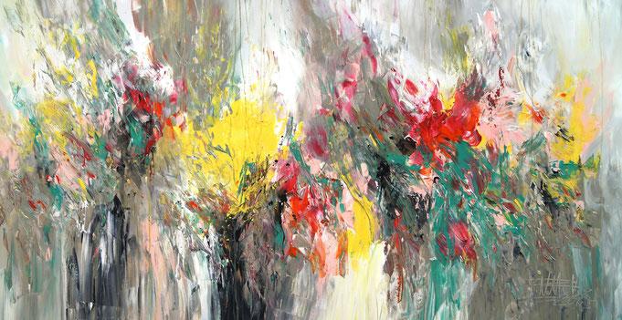 Moderne Sommer Malerei, Abstraktes Acrylgemälde