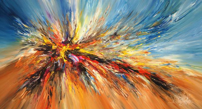 Abstraktes Acrylbild mit gelb. Original Gemälde auf Leinwand.